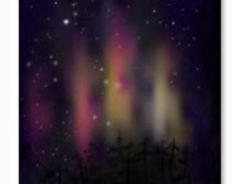 northernlights over the pines -  Original drawing DOWNLOAD