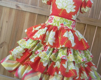Ready to Ship Custom Pop Garden Girl  Spring Flowers Ruffled  Dress Will Fit Sizes 4 or 5 or Slim Size 6