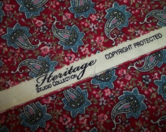 Flannel Fabric Red & Blue Paisley Cotton Flannel