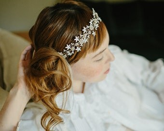 Bridal flower crown, wedding hair vine, tiara - Whimsical Spirit no. 2190