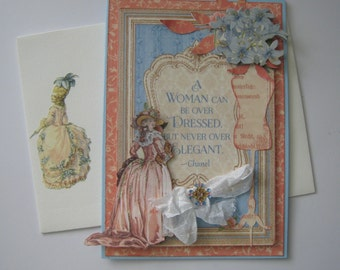 Vintage elegant Mother's Day card with decorated envelope - Mother's Day Card