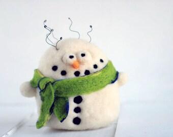 Centerpiece - Big crazy snowman decorative felt plushie - Needle felted christmas ornaments ON SALE