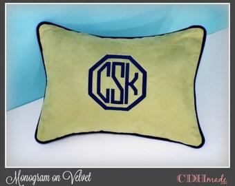 Velvet Pillow Cover - Framed Octagon or Circle Monogrammed Velvet Pillow Cover - Lumbar Size 12 x 16