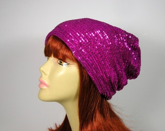 Glam Sequin Beanie Glam Sequin Slouchy Hat for Hair Loss Glamorous Chemo Caps Fuchsia Sequin Slouch Hat Sequined Slouchy Beanie Sequined Hat