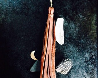 Leather Tassel Necklace Brass Accent