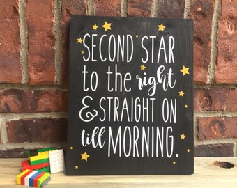 second star to the right wood sign peter pan sign peter pan wall art