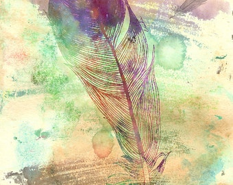 """Watercolor Feather - 11"""" x 14"""" Nature Inspired Digital Watercolor & Pencil Fine Art Print by Kenneth Rougeau"""