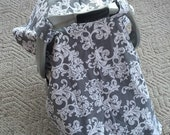 Car Seat Canopy..Baby Car Seat Canopy... Gray Damask Scrollworks.....Michaelmoodesign