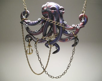 Chained Purple Octopus Necklace - Polymer Clay Sculpture