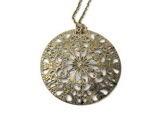 vintage metal filigree pendant necklace | extra large pendant necklace | art nouveau necklace