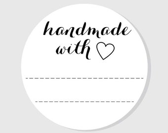 Handmade With Love Label Stickers - matte white finish - mason jar labels - 1.5 inch - 2 inch - 2.5 inch - 3 inch - Wedding Favors - Crafts