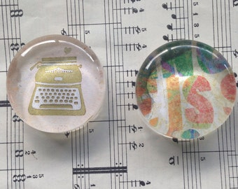 Typewriter - Magnet set of 2, FREE SHIPPING in the US