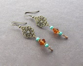 Bronze Victorian Tea Time Earrings Four Hearts Design Swarovski Brand Crystal Accents In Amber Color