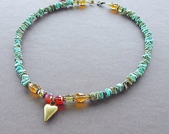 Have A Heart Bronze Heart & Turquoise Gemstone Necklace With Swarovski Crystals