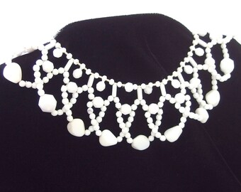 Vintage  White Woven Bead Bib Necklace Choker, Signed WEST GERMANY