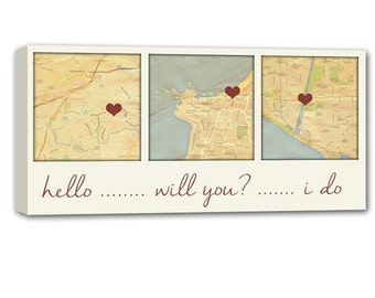 Anniversary Ideas Cotton Anniversary Gift Custom Map Art using Three Locations, love map picture, couple Personalized Wedding  8x16