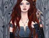 Moth Maiden ACEO Print Redhead Celtic