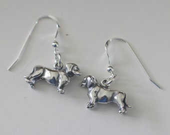 DACHSHUND DOG  Sterling Silver Earrings  - 3D -