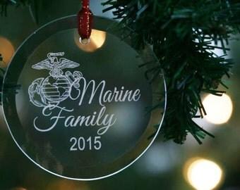 US Marine Corps Eagle Globe and Anchor Glass Ornament, Suncatcher, USMC Emblem