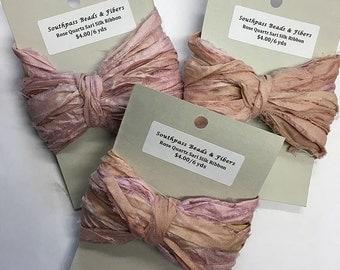 Rose Quartz Reclaimed Silk Sari Ribbon 6 yards for Macrame Wrapping Knitting Kumihimo Knotting