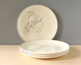 Pink and gray flowers and leaves. 1950s mid century modern lunch plates, set of four.