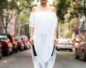 SALE 20% BABOOSHKA Modern Vent Tee Oversized Maxi Dress Knit Short Sleeve Convertible Tunic Off Shoulder Wide Scoop Neck Black White Charcoa
