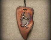 Raku, Wall Art, Raku Wall Art with Doves in Copper Metallic Colors