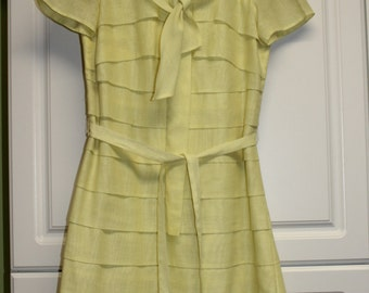 Vintage Betty Hartford Yellow Sheath Dress - spring, summer, luncheon wear,