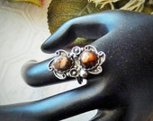 Vintage Navajo .925 Sterling Silver Fire Agate Ring Size 9