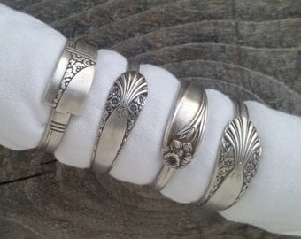 Napkin Rings, Antique Silver Spoon Patterns, Set of 4, Lot 4