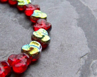 Czech Glass Flowers-Pansy-Glass Flower Beads-Red Beads-Red AB-25 Beads-Full Strand