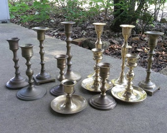 12 Brass Candle Holders Vintage Candlesticks Dozen Candleholders  Brass Wedding Decorations Table Decor Rustic Lighting Candle Holders SET