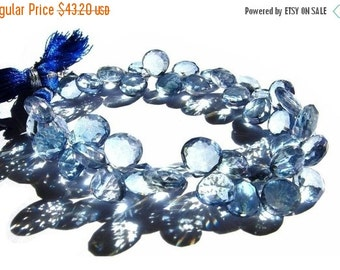 55% Sale 1/2 Strand - Blue Mystic Quartz Faceted Heart Briolettes Size 9 - 10mm approx