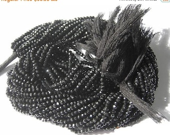 55% OFF SALE Super Shiny Genuine Black Spinel Micro Faceted Rondelles Length 14 inches, Size 3mm approx