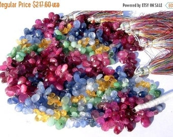 55% OFF SALE 6.5 Inches Finest Quality Multi Precious Faceted Pear Briolettes Ruby, Emerald, Blue Sapphire n Yellow Sapphire 7x6 - 6x4mm