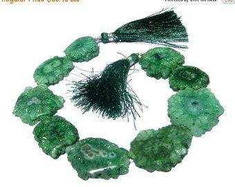 50% Off Valentine day 8 Inches - Green Solar Quartz Stalactite Slice Briolettes Size 22 - 24mm Approx