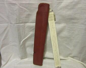 Vintage Pickett Slide Ruler Model N902-T Simplex Trig with Leather Holder