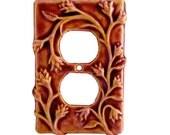 Ceramic Duplex Outlet Plate in Amber Rose Glaze