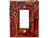 Tree Single Rocker Light Switch Cover in Amber Rose Glaze