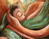 """BRAND NEW! original OOAK 12x24"""" painting on canvas of mother nursing toddler ~ No Hurry, No Worry ~ free shipping"""