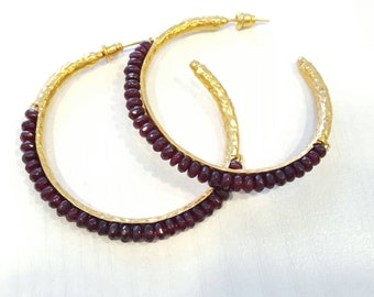 Large Garnet Hammered Gold Hoops