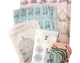 SALE -- Cavallini French Ephemera Petite Parcel Set - Gift & Party Wrap - Paper Emphemera