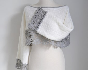 Knitted sweater with lace crochet trim, P494