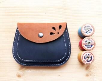 Handmade, Leather clutch Large Purse, MERRY 3056 tan, inky blue