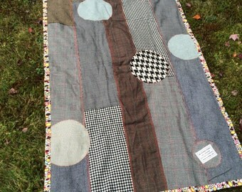 Upcycled and Recycled Patchwork Wool Throw, Picnic Blanket, Car Blanket, Warm, Soft, and Handmade in Maine, USA