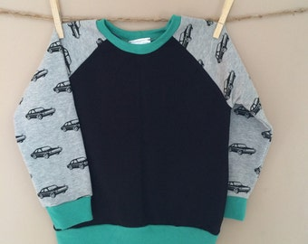 READY TO SHIP - Sunday West - remnant raglan crewneck sweatshirt - cars
