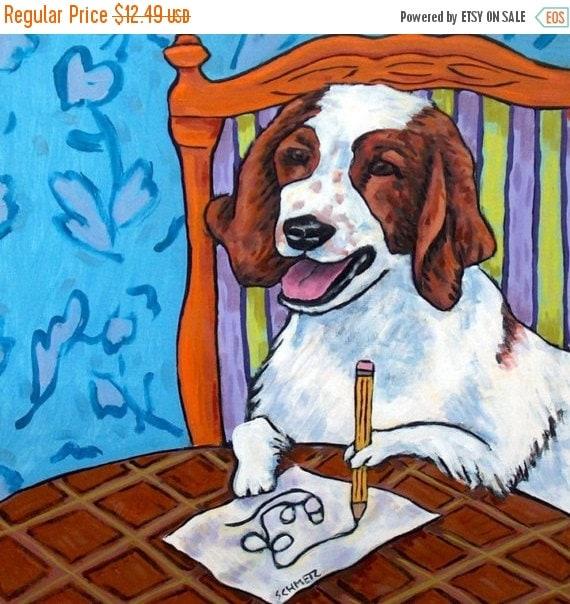 English Springer Spaniel Artist Dog Art Tile Coaster Gift