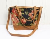 Top Handle Bag in Leather and Floral Handbag Satchel Purse