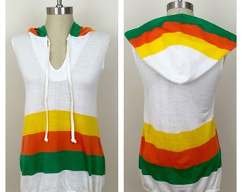 70s Variations White Green Orange Yellow Hooded Striped Drawstring Tunic, Size XS to Small
