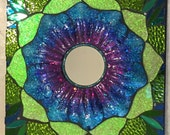 Stained Glass and Resin Mosaic Mirror Blue and green and Purple